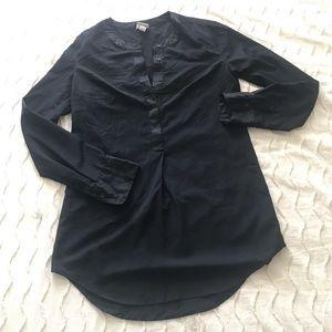Black satin trimmed blouse